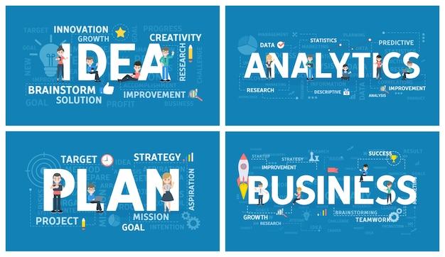 Insieme di parole di affari. idea, analisi e piano. idea di lavoro di squadra e brainstorming. gestione e marketing. vector piatta illustrazione