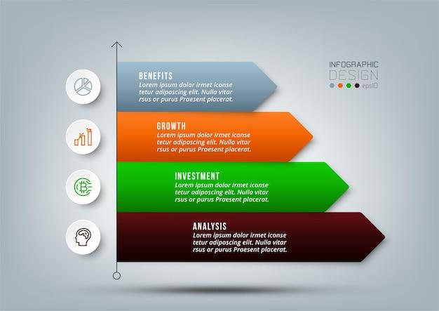 Modello di infografica flusso di lavoro aziendale