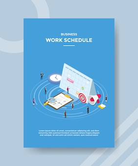 Persone di pianificazione del lavoro aziendale in piedi intorno agli appunti del grafico del calendario