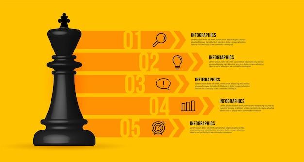 Modello di infografica del flusso di lavoro aziendale scacchi realistici di strategia aziendale e concetto di pianificazione