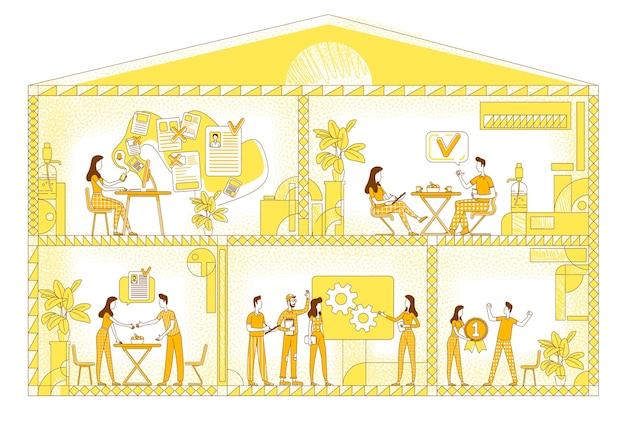 Illustrazione di sagoma piatta sul posto di lavoro di affari. i dipendenti dell'azienda delineano i caratteri su sfondo giallo. area di lavoro aziendale, sala conferenze degli uffici e disegno in stile semplice della zona lounge