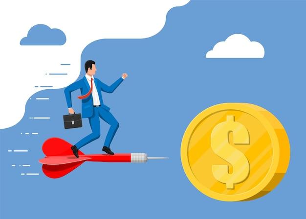 Uomo d'affari sulla freccia di aart nell'obiettivo della moneta del dollaro. impostazione degli obiettivi. obiettivo intelligente. concetto di obiettivo aziendale. realizzazione e successo. illustrazione vettoriale in stile piatto