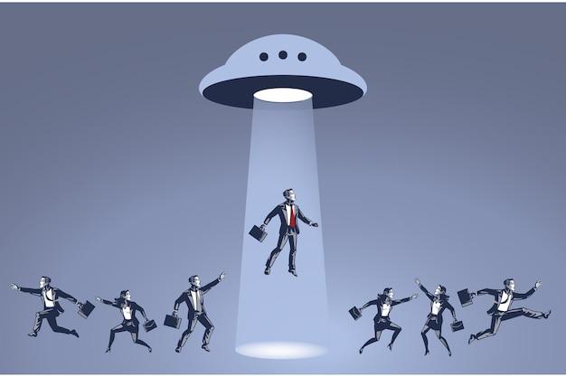 Uomo d'affari rapito da ufo blue collar concept