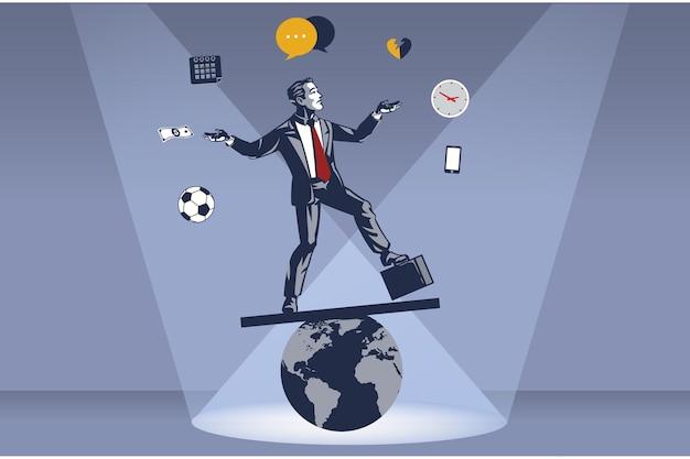 Imprenditore si leva in piedi in modo acrobatico sul globo del mondo instabile
