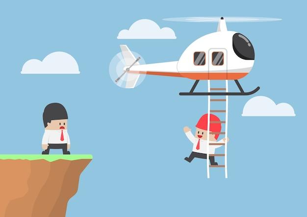 Uomo d'affari attraverso la scogliera in elicottero, assistenza aziendale e concetto di leadership