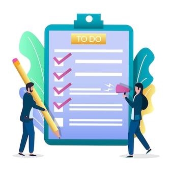 Imprenditore aggiungendo il segno di spunta nella lista delle cose da fare negli appunti, illustrazione vettoriale. gestione delle attività, pianificazione, programmazione.