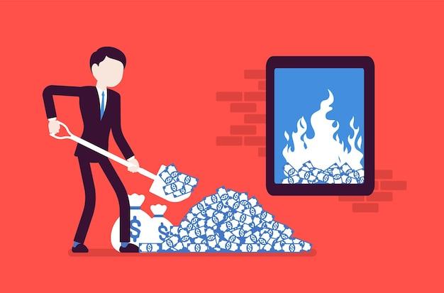 Uomo d'affari che aggiunge carburante per denaro a un grande fuoco chiuso. manager che scava denaro con la vanga che lo brucia, spende lo stipendio o investe il budget in un progetto rischioso, pericolo. illustrazione vettoriale, personaggi senza volto