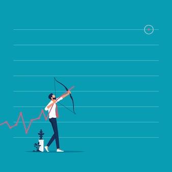 Uomo d'affari che mira al grafico della freccia di crescita per raggiungere gli obiettivi di raggiungimento con la strategia e concentrarsi sull'attività