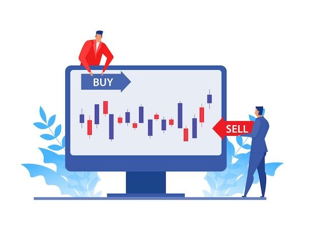Mercato azionario di analisi dell'uomo d'affari sul computer portatile, direzione dell'obiettivo di prezzo di acquisto e vendita. progettazione di massima dell'illustrazione di vettore piatto.