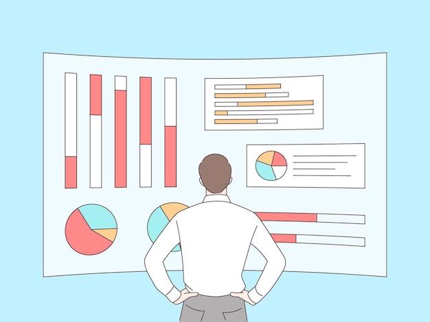Analisti dell'uomo d'affari su grafici olografici e diagrammi delle statistiche di gestione delle vendite