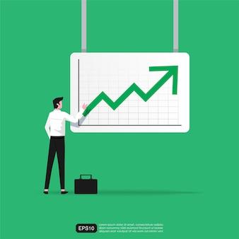 Uomo d'affari che analizza il concetto di freccia verso l'alto verde. simbolo aziendale