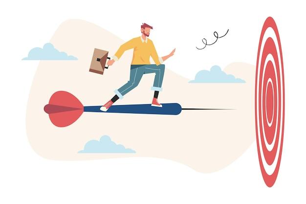 Arciere dell'uomo d'affari che mira a un obiettivo, aumentare la motivazione, il modo per raggiungere l'obiettivo