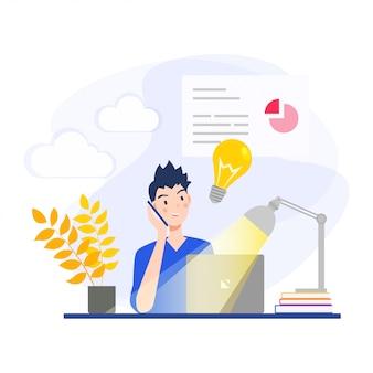 L'uomo d'affari sta consultando le idee di affari al telefono e sta lavorando sui loro laptop illuminati da una lampada da scrivania. illustrazione di vettore del personaggio dei cartoni animati di design piatto.
