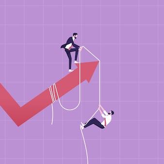 Uomo d'affari sulla freccia che assiste i colleghi che rappresentano la crescita aziendale