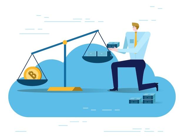 Uomo d'affari bilanciamento golden bitcoin e dollari usa nella scala. concetto di scambio di denaro elettronico.