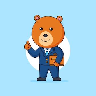 Imprenditore orso indossando suite di lavoro e portando valigetta animale mascotte personaggio illustrazione cartoon