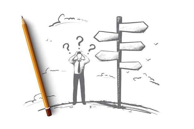 Uomo d'affari prima del concetto di scelta. la persona disegnata a mano ha dovuto prendere una decisione. l'uomo deve decidere l'illustrazione isolata.