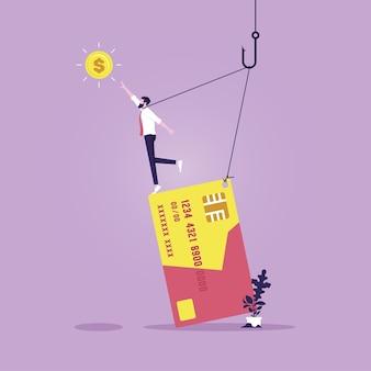 Imprenditore imprigionato dal debito di una carta di credito concetto di sperpero e schiavitù del credito credit