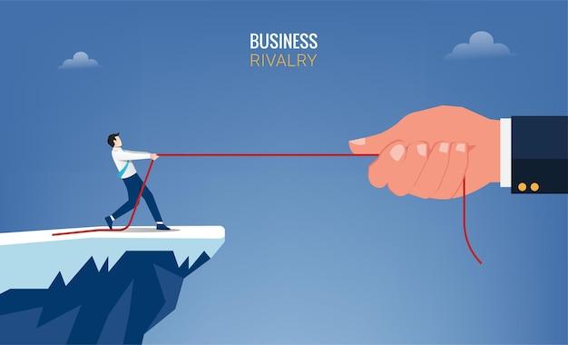 Uomo d'affari e mano grande tirare il concetto di corda. illustrazione di simbolo di rivalità aziendale