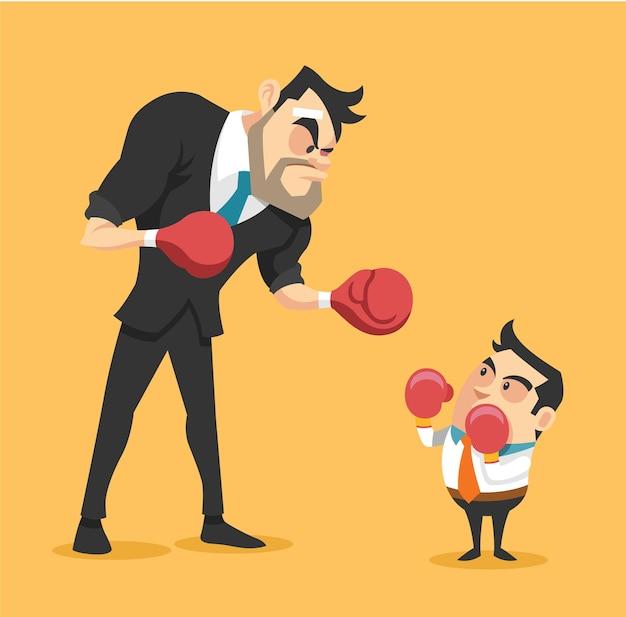 Uomo d'affari boxe contro un gigantesco uomo d'affari