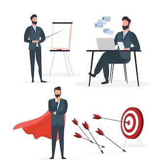 Uomo d'affari in giacca e cravatta. un uomo in un abito classico. impostare per la presentazione su un tema aziendale. isolato. vettore.