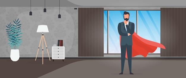 Uomo d'affari in giacca e cravatta con un impermeabile rosso. imprenditore di supereroi. concetto di persona di successo. vettore.