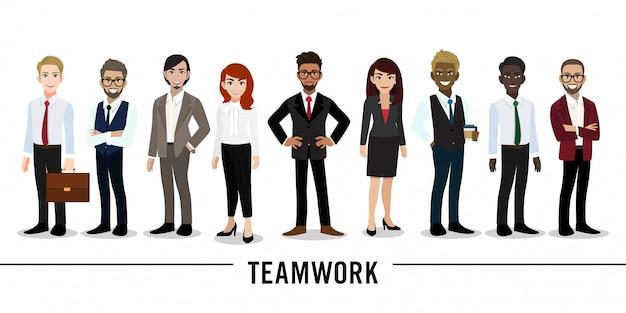 Lavoro di squadra del personaggio dei cartoni animati della donna di affari e dell'uomo d'affari Vettore Premium