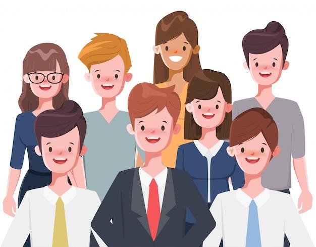 Personaggio dei cartoni animati della donna di affari e dell'uomo d'affari su bianco