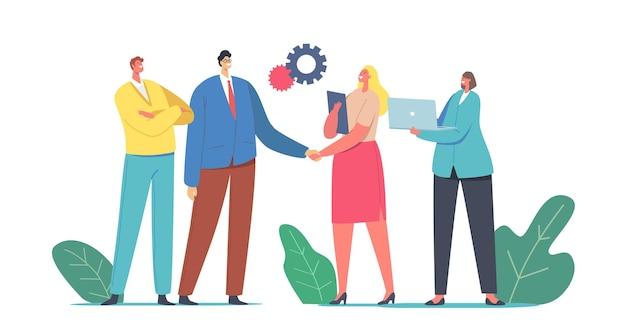 Caratteri di uomo d'affari e donna d'affari che si stringono la mano vendendo prodotti e servizi a causa di vendite business-to-business, metodo b2b, concetto di transazione o all'ingrosso
