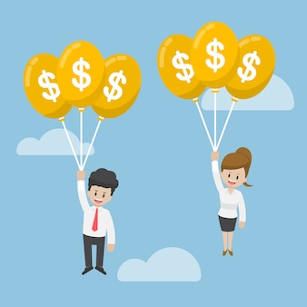 Uomo d'affari e donna di affari che volano con il palloncino del dollaro
