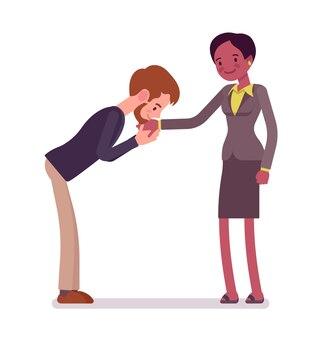 Gesto di bacio della mano della donna di affari e dell'uomo d'affari