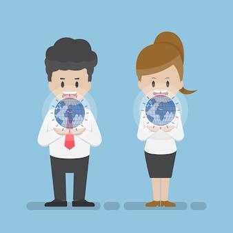 Imprenditore e imprenditrice tenendo il mondo virtuale sulle loro mani. concetto di tecnologia aziendale
