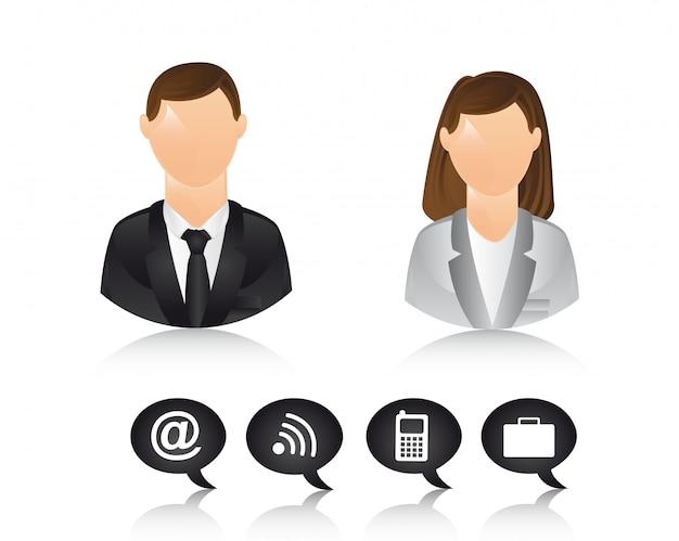 Le icone dell'uomo d'affari e della donna di affari vector l'illustrazione