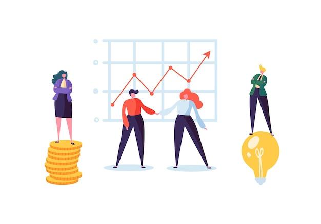 Imprenditore e imprenditrice stringono le mani. stretta di mano di affare di partenariato, concetto di accordo di riunione. personaggi sui negoziati di successo.