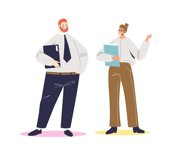 Imprenditore e imprenditrice parlando. conversazione di affari di due persone di affari del fumetto. personaggi maschili e femminili che parlano.