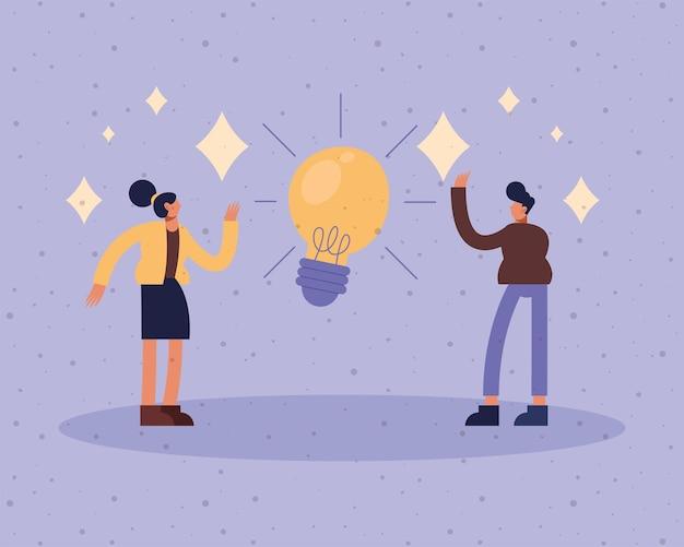 Uomo d'affari e donna d'affari con design della lampadina, gestione di uomini d'affari e illustrazione del tema aziendale