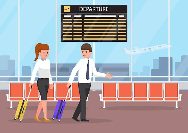 Uomo d'affari e donna d'affari con bagagli al terminal dell'aeroporto. trasporto e concetto di viaggio d'affari.