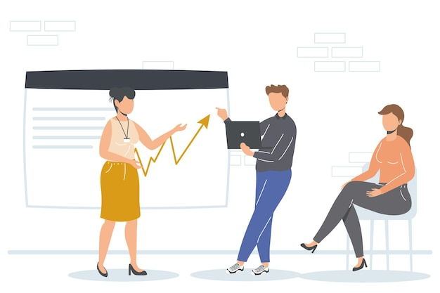 Uomo d'affari e donne d'affari con infografica in ufficio