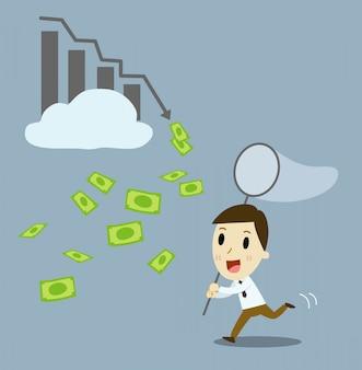 Uomo d'affari che compra gli stock proficui. illustrazione di cartone animato vettoriale