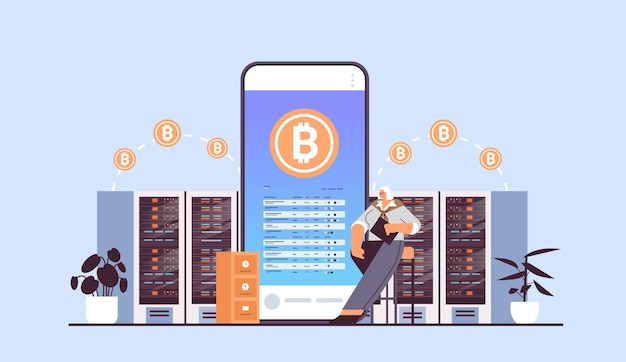 Uomo d'affari che acquista o vende bitcoin su smartphone online trasferimento di denaro pagamento internet blockchain criptovaluta