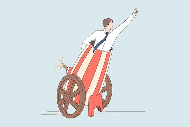 Uomo d'affari nel cannone che lancia un nuovo progetto. illustrazione del concetto di vettore dell'avvio di una nuova società commerciale sparando al manager all'obiettivo.