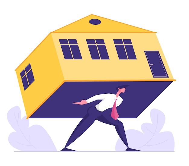 Uomo d'affari trasporta ipoteca pesante casa schiacciante