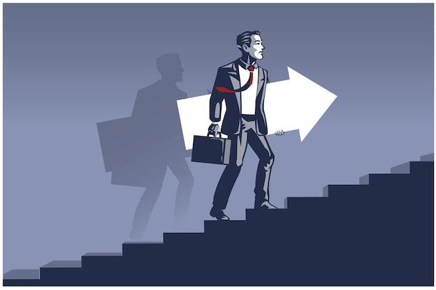 Uomo d'affari che trasportano la freccia prendendo provvedimenti sulle scale. illustrazione di affari concetto di sviluppo aziendale