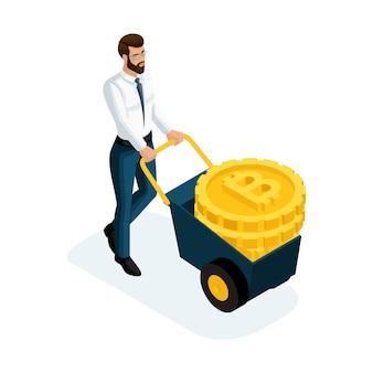 Uomo d'affari che trasporta grandi monete d'oro crypto currency, concetto bitcoin di risparmio di denaro. illustrazione di un investitore finanziario