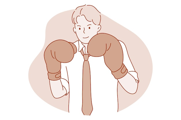 Personaggio dei cartoni animati di uomo d'affari in guantoni da boxe sentirsi pronto a combattere