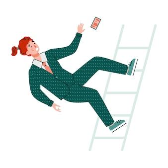 Il personaggio dei cartoni animati dell'uomo d'affari cade dall'illustrazione piana di vettore delle scale