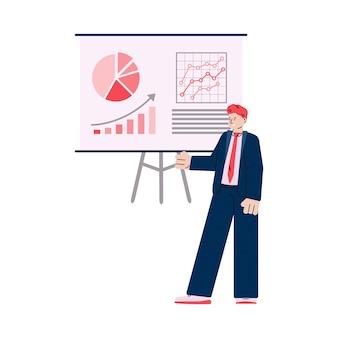 Personaggio dei cartoni animati dell'uomo d'affari vicino alla scheda di presentazione con grafici e diagrammi