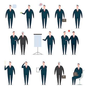 Set di caratteri del fumetto dell'uomo d'affari. lavoratore di ufficio uomo in tuta. il design del vettore di persone piatte in pose di presentazione isolate.