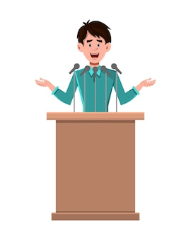 L'altoparlante del personaggio dei cartoni animati dell'uomo d'affari sta dietro il podio e parla
