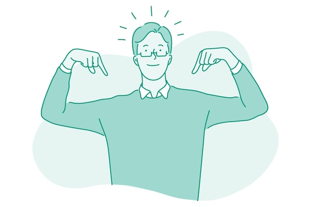 Personaggio dei cartoni animati di uomo d'affari in piedi e indicando con le dita a se stesso